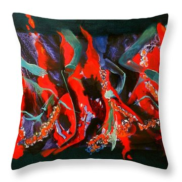 Throw Pillow featuring the painting Dancing Flames by Georg Douglas