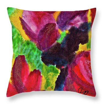 Dancing Flowers Throw Pillow by Joan Reese