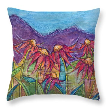 Dancing Flowers Throw Pillow by Tanielle Childers