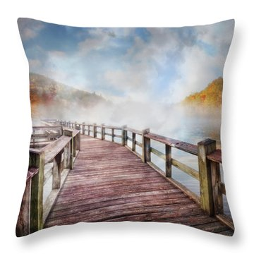 Throw Pillow featuring the photograph Dancing Fog At The Lake by Debra and Dave Vanderlaan