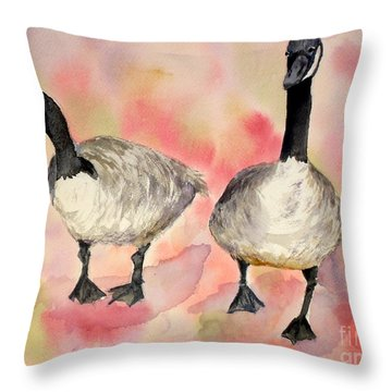 Dancing Geese Throw Pillow by Vicki  Housel