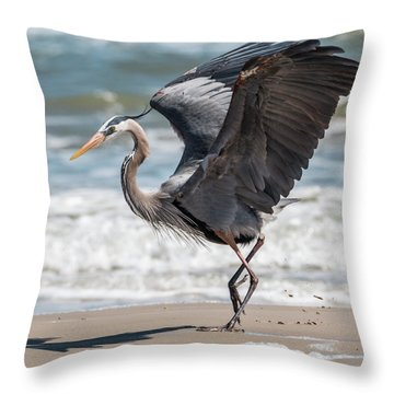 Dancing Heron #2/3 Throw Pillow by Patti Deters