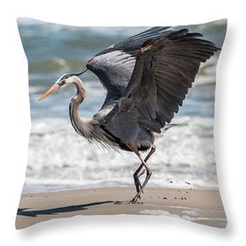 Dancing Heron Triptych Throw Pillow
