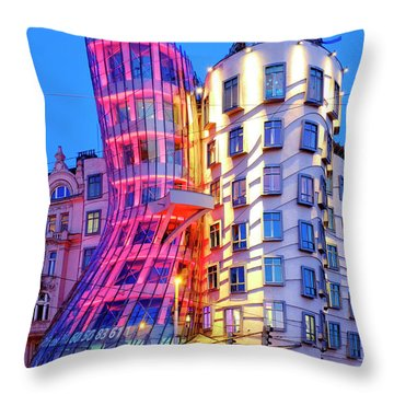 Throw Pillow featuring the photograph Dancing House by Fabrizio Troiani