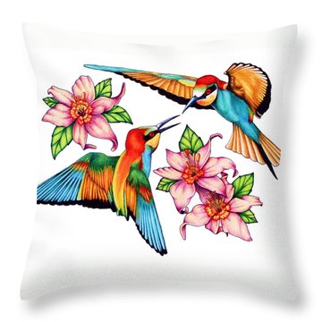 Dancing Bee-eaters  Throw Pillow