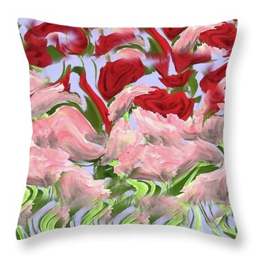 Throw Pillow featuring the painting Dancing In The Garden by David Dehner