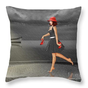 Dancing In The Rain Throw Pillow by Monika Juengling