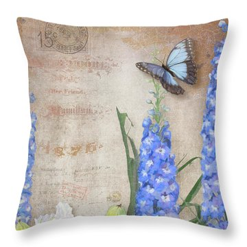 Dancing In The Wind - Damselfly N Morpho Butterfly W Delphinium Throw Pillow