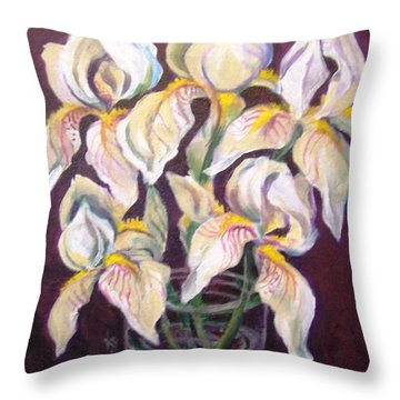 Throw Pillow featuring the painting Dancing Iris by Laura Aceto