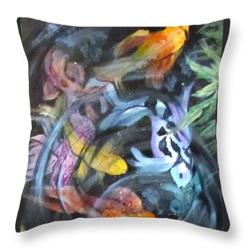 Dancing Koi Throw Pillow