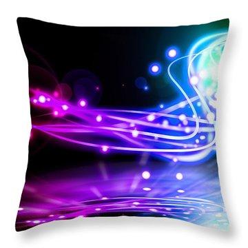 Dancing Lights Throw Pillow by Setsiri Silapasuwanchai