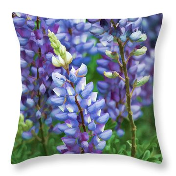 Dancing Lupines - Spring In Central California Throw Pillow by Ram Vasudev