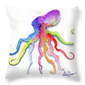 Dancing Octopus Throw Pillow