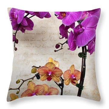 Dancing Orchids Throw Pillow