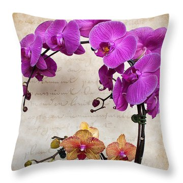 Dancing Orchids Throw Pillow