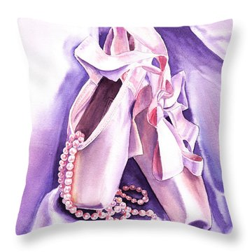Dancing Pearls Ballet Slippers  Throw Pillow