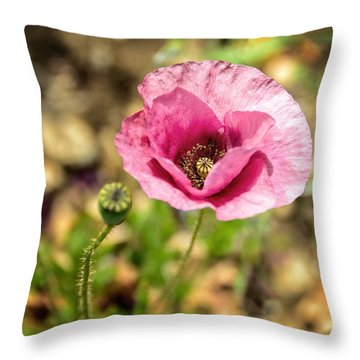 Dancing Pink Poppy Throw Pillow