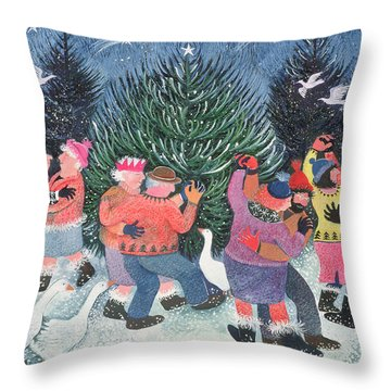 Dancing Round The Tree Throw Pillow