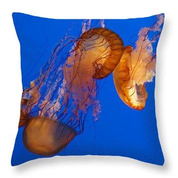 Dancing Sea Nettles Throw Pillow