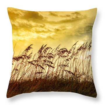 Dancing Sea Oats Throw Pillow