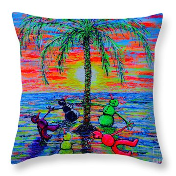 Throw Pillow featuring the painting Dancing Snowman by Viktor Lazarev