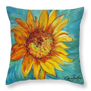 Dancing Sunflower  Throw Pillow