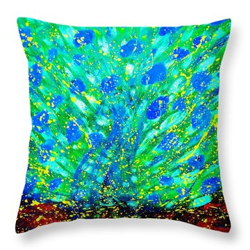 Throw Pillow featuring the painting Dancing Tree by Piety Dsilva