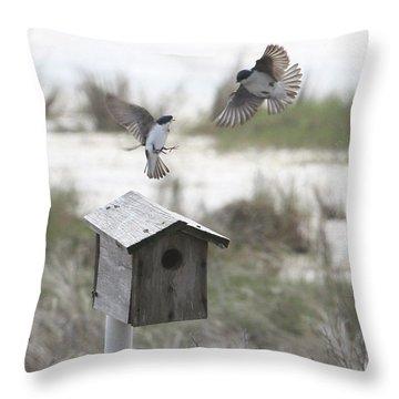 Dancing Tree Swallows Throw Pillow