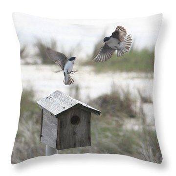 Dancing Tree Swallows Throw Pillow