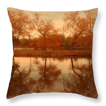 Dancing Trees - Lake Carasaljo Throw Pillow