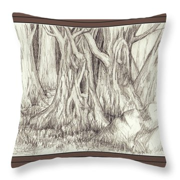 Dancing Trees Throw Pillow by Ruth Renshaw