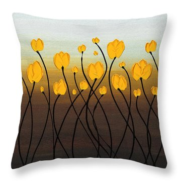 Throw Pillow featuring the painting Dancing Tulips by Carmen Guedez