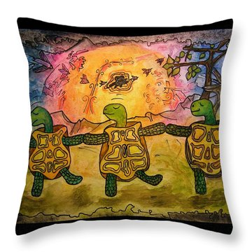 Dancing Turtles Throw Pillow by Mimulux patricia no No
