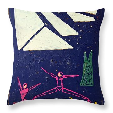 Throw Pillow featuring the mixed media Dancing Under The Starry Skies by J R Seymour