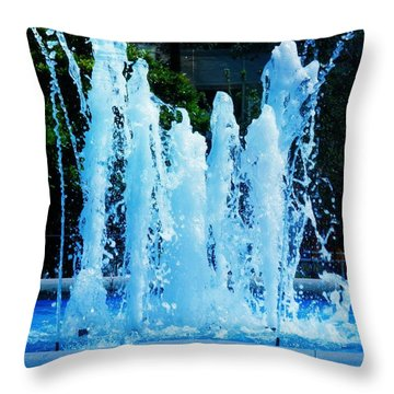 Dancing Waters Blue Throw Pillow