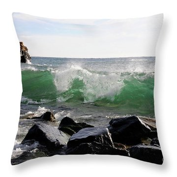 Dancing Waves Throw Pillow by Sandra Updyke