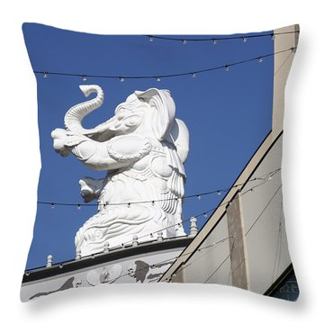 Dancing White Elephant Throw Pillow