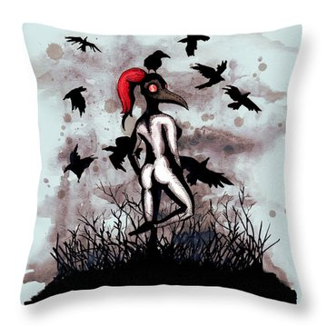 Dancing With Crows Throw Pillow
