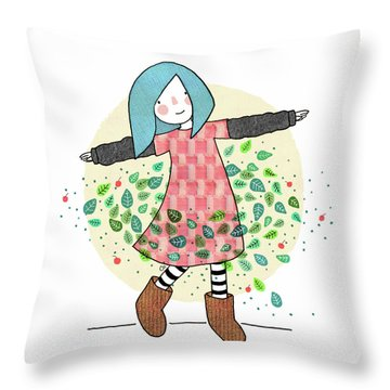 Dancing With Leaves Throw Pillow