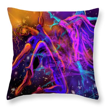 Throw Pillow featuring the painting Dancing With The Universe by DC Langer