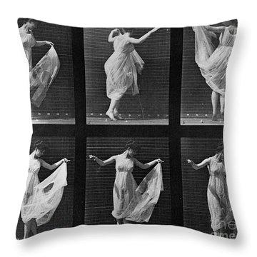 Dancing Woman Throw Pillow by Eadweard Muybridge