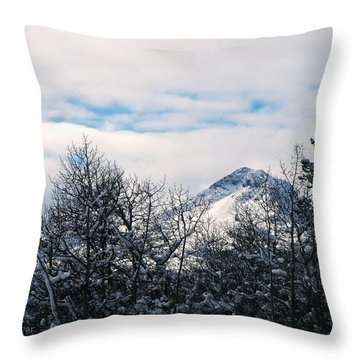 Dancing Woman Mountain In The Winter Throw Pillow
