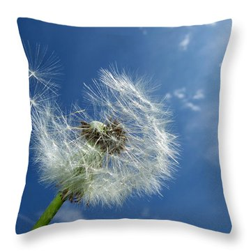 Dandelion And Blue Sky Throw Pillow