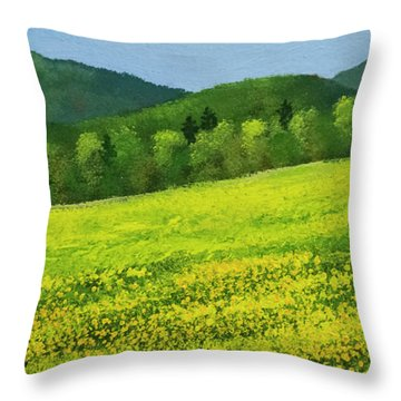 Throw Pillow featuring the painting Dandelion Bloom by Frank Wilson