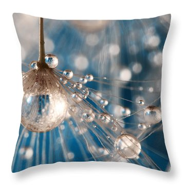 Dandelion Blue Sparkling Drops Throw Pillow by Sharon Johnstone