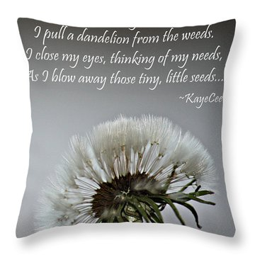 Dandelion Dreams- Fine Art And Poetry Throw Pillow