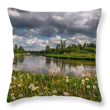 Dandelion Field On The River Bank Throw Pillow