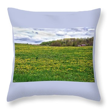 Dandelion Field With Barn Throw Pillow