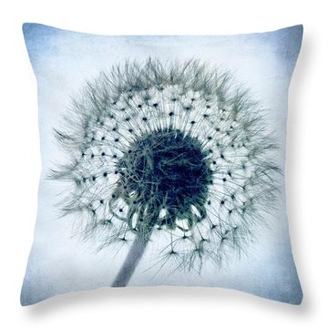 Dandelion In Blue Throw Pillow by Tamyra Ayles