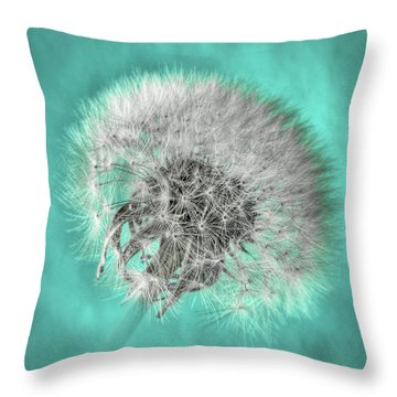 Dandelion In Turquoise Throw Pillow by Tamyra Ayles